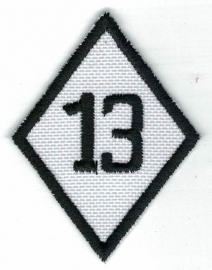 265 - Patch - Diamond 13 Black on White - Small