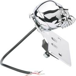 Taillight - Power LED - CHROME TAIL LIGHT SKULL WITH LICENSE PLATE BRACKET