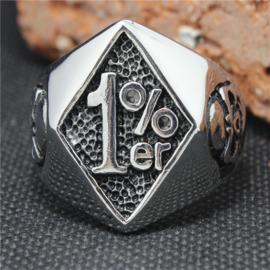 1% - One Percenter Ring - Silver Skull