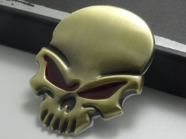 Red Eyed Brass Skull badge