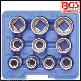 "BGS - SAE Imperial - Shallow Socket Set - 1/2"" Drive Pro Torque® 10 Pcs - 2434 Garage INCH"