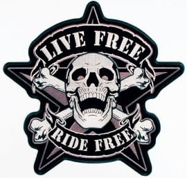 BackPatch - Live Free - Ride Free - Skull - LARGE