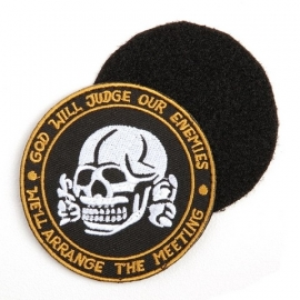 VELCRO PATCH - skull - GOD WILL JUDGE OUR ENEMIES * WE'LL ARRANGE THE MEETING