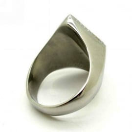 1% - One Percenter Ring - Black & Silver