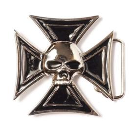 Belt Buckle - Biker - Skull & Black Cross