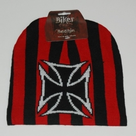 Beanie - Cross & Stripes - Red & Black