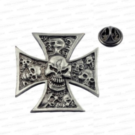 P101 - Pin - Iron Maltese Cross with Skulls (LARGE)