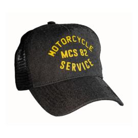 MOTORCYCLE SERVICE TRUCKER CAP BLACK DENIM
