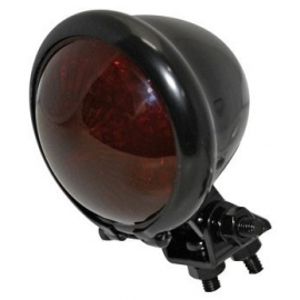TAILLIGHT - OLD SKOOL - Mini Bates Style LED - Black  with RED lens