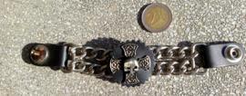 Vest Extender - Double Chain - Celtic Cross with Half Skull