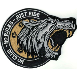 Patch - NO CLUB  - NO RULES - JUST RIDE - big bad wolf