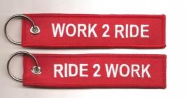 Keychain - Ride 2 Work - Work 2 Ride - Red & White