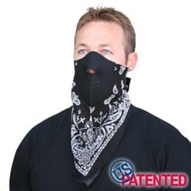 Face Mask - Half XXL - Neodanna, 100% Cotton Bandanna w/Neoprene, Paisley Black