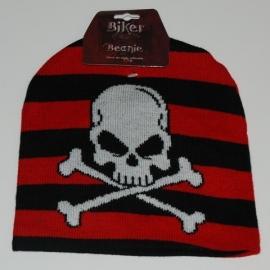 Beanie - Crossbones & Stripes (red & black) - Pirate