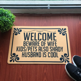 Welcome Beware Of Wife - Doormat