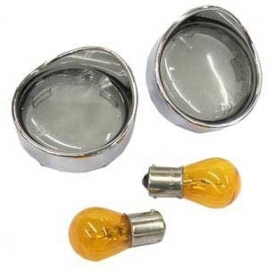 BULLET TURN SIGNAL VISOR LENS KIT, SMOKE (2 pcs & 2 bulbs)