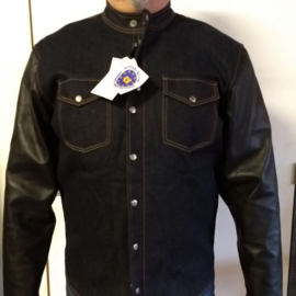 Leather sleeved Para-Aramid & RAW Denim Biker Shirt