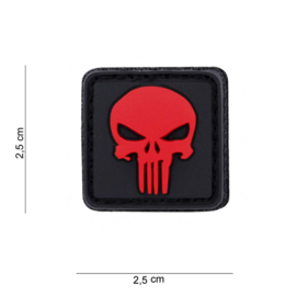 Patch - Punisher 3D / PVC-RUBBER - VELCRO - RED - SMALL