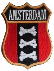 210 - Patch - Schild - AMSTERDAM - botten kruizen