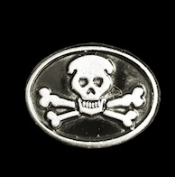 P140 - Pin - Pirate Skull and Bones - Oval