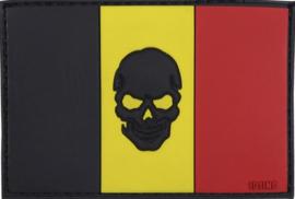 370 - PVC &VELCRO PATCH - Belgian flag with skull - Belgische vlag - België - Belgium - la Belgique