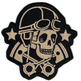 Patch - HOG GOLD - Rider Skull with Crossed Pistons