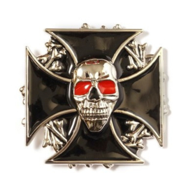 Belt Buckle - Biker - Red Eyed Skull & Black Cross