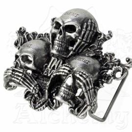Alchemy - Belt Buckle - No Evil - 3 Skulls