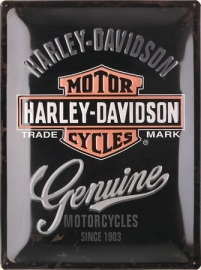 Harley-Davidson - Tin Sign - Genuine Motorcycles