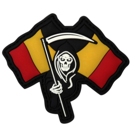 PVC & VELCRO PATCH - Grim Reaper with Belgian FLags - Belgium - België - la Belgique