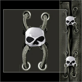 Vest or Boot Lacer (1 piece) - Half Skull with black eyes