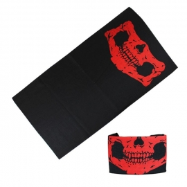 Tunnel / Tube - Half Skull - Black & Cherry Red
