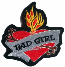 PATCH - BAD GIRL - Flaming Heart - Old Skool