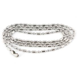 Dog Tag Chain - Silver - Long - Ball Bead