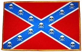 000 - BACKPATCH - Confederate flag with skulls - rebel flag