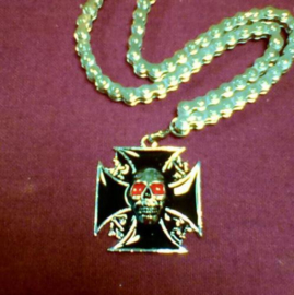 Biker neckchain - Chrome Skull and Black Cross