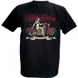 King Kerosin - Tattooed Pin up on Red Motorcycle - For Saints and Sinners - Black T-shirt