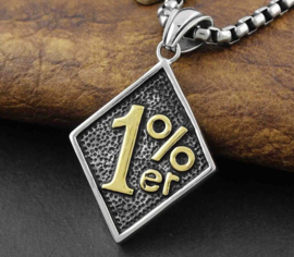 One Percenter- 1%er - Stainless Steel Pendant - GOLD