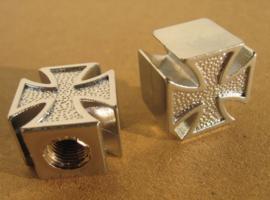 Valve Caps - Silver Maltese Crosses