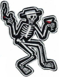 341 - Patch - Dancing Skeleton - Social Distortion - Smoking hand up