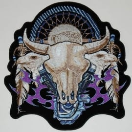153 - Patch - V-Twin Engine & Bull Skull - Small