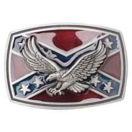Belt Buckle Rebel flag with Eagle - Colored