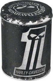 Harley-Davidson - Tin Storage Box - Black / Round / Skull