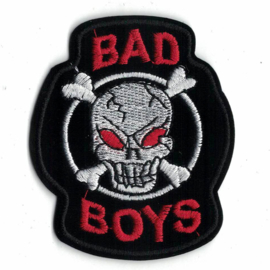 Patch - BAD BOYS with red-eyed skull with crossed bones