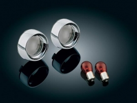 BULLET TURN SIGNAL LENS KIT, CHROME/SMOKE DEEP DISH BEZELS