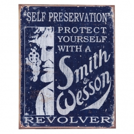 Large Metal Plate - S & W GUN - SELF PRESERVATION