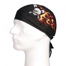 Bandana Cap - Piston Skull & Flames - Zandana