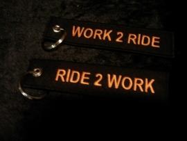 Keychain - Ride 2 Work - Work 2 Ride - Black & Orange