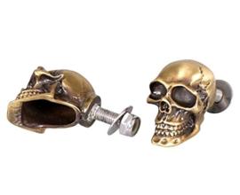 Decorative Brass Skull Bolt - 30mm