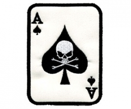 171 - PATCH - Ace of Spades - Playing Card with Skull and Bones